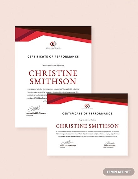 employee performace certificate