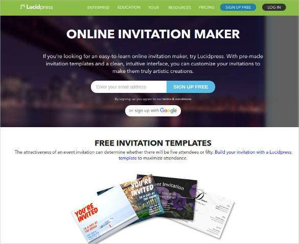 Top best 12 online invitation makers tools to make your invite lucidpress is a print and digital publishing software that is available online it is a drag and drop app that can be used to create awesome content for stopboris Image collections