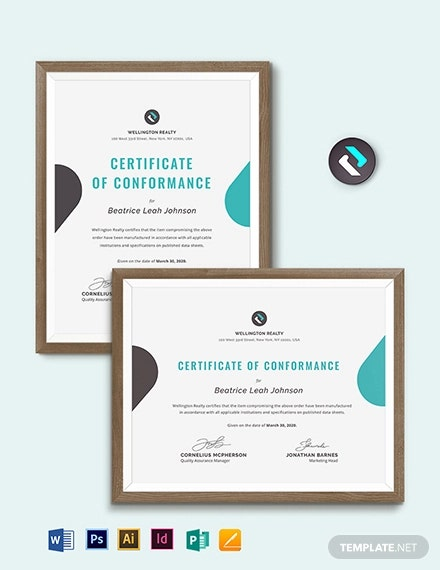 manufacture certificate of conformance