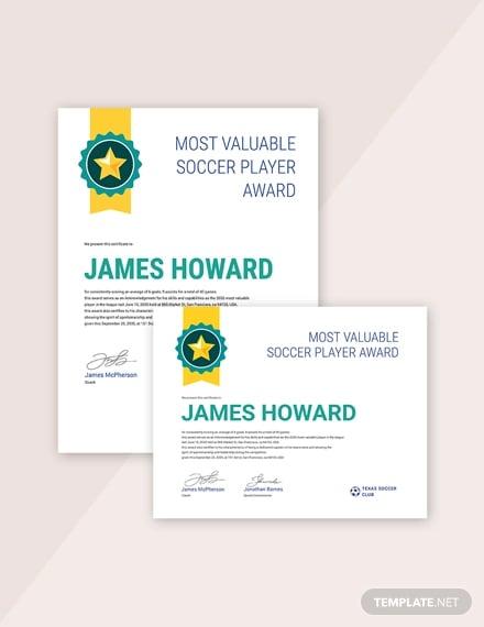 Simple Sports Award Certificate Template