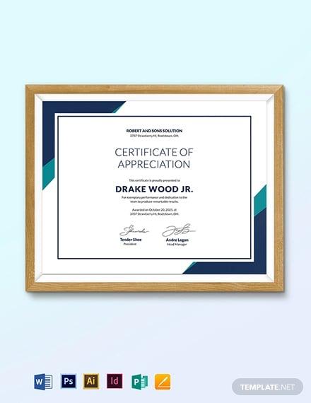 winning team certificate