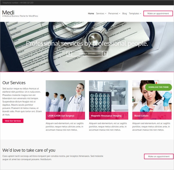 WordPress Website Theme For Medical Health Professionals
