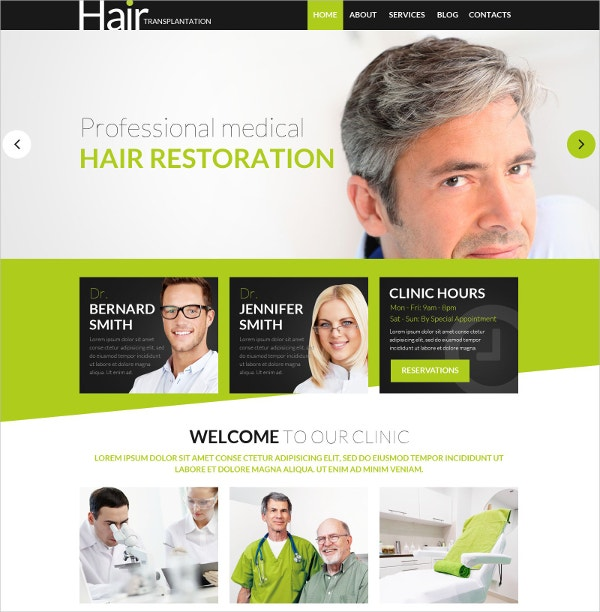 medical hair psd website template 11