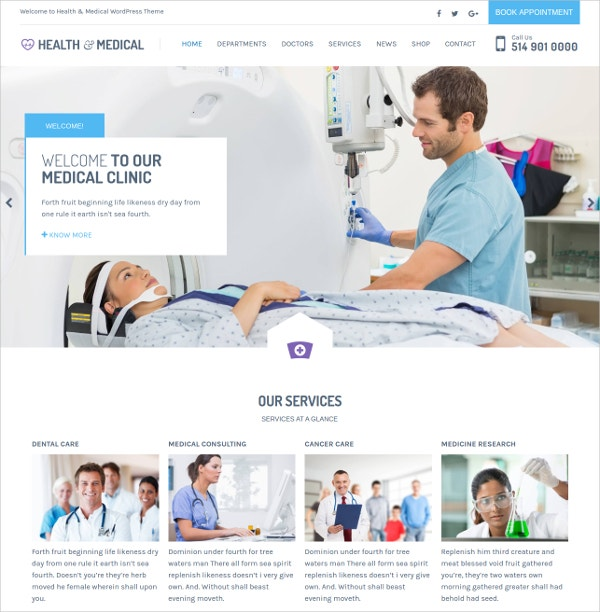 Medical Hospital WordPress Website Theme $59