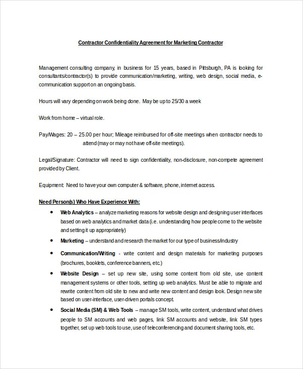 Lovely Contractor Confidentiality Agreement For Marketing Contractor