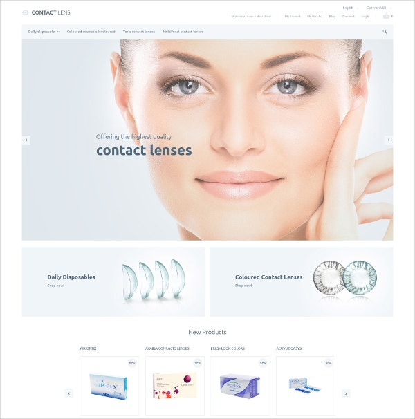 Medical Lenses Vision Magento Website Theme $179
