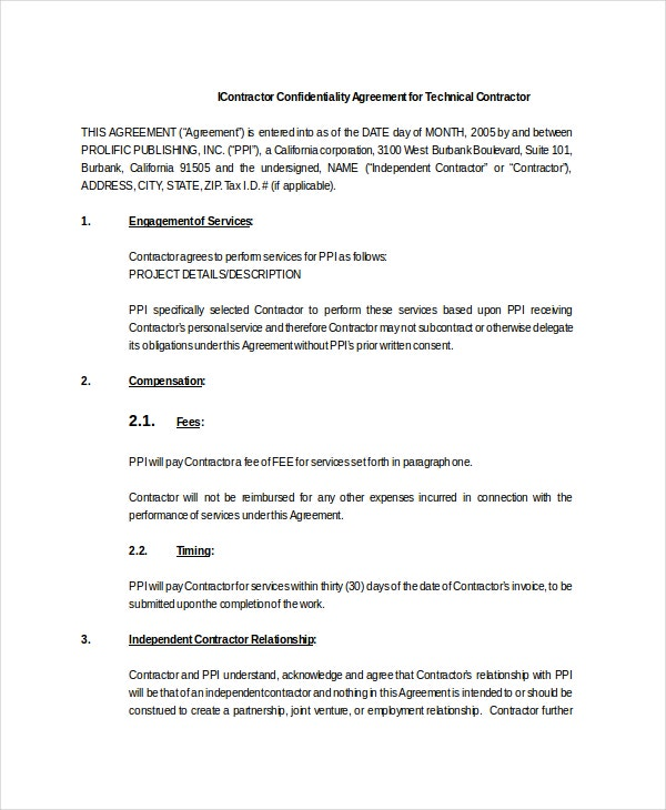 Contractor Confidentiality Agreement for Technical Contractor