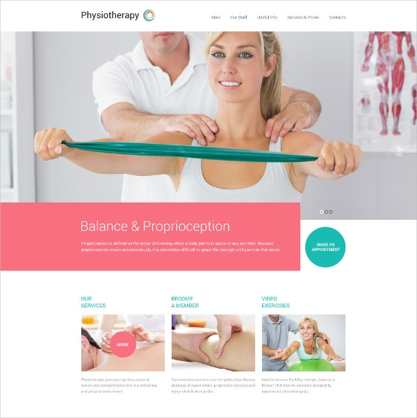 Physiotherapy Medical Website Template $69