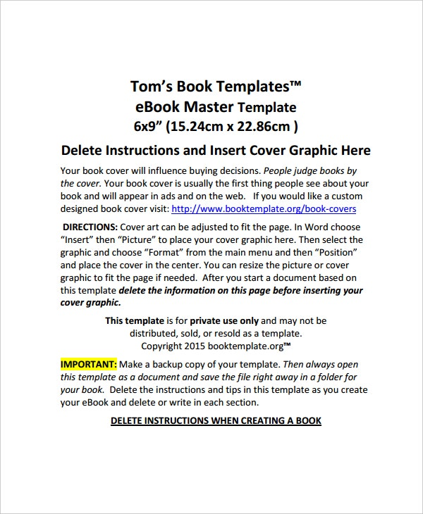 6x9 book writing template pdf