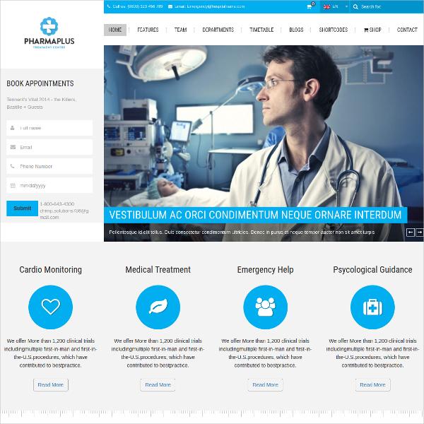 Medical & Fitness WordPress Website Theme $59