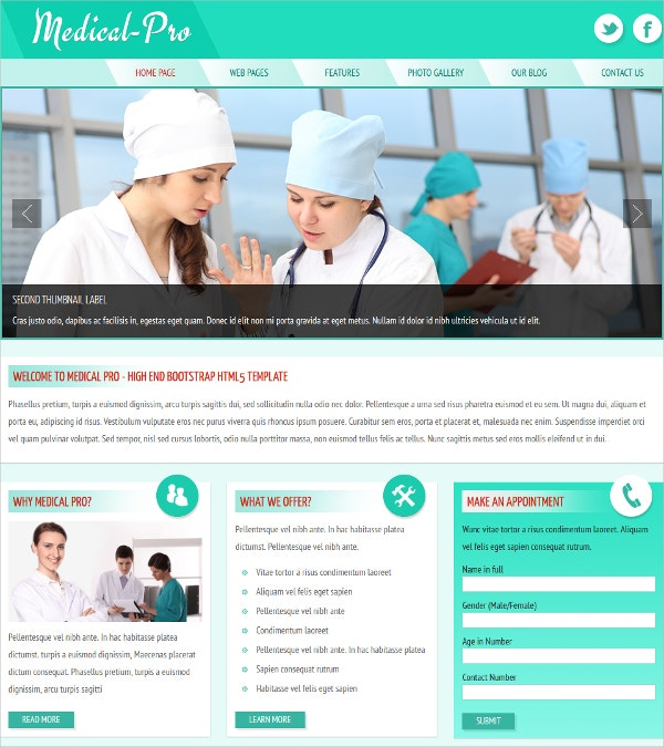 Popular Medical HTML Website Theme $4
