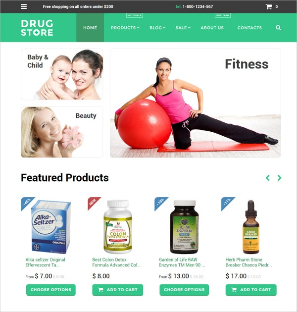 Drug store Medical Website Shopify Theme $139