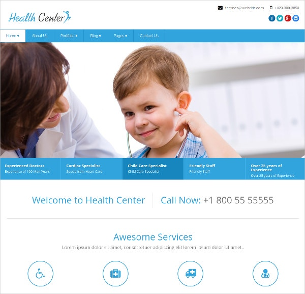 Health Centre WordPress Website Theme $49