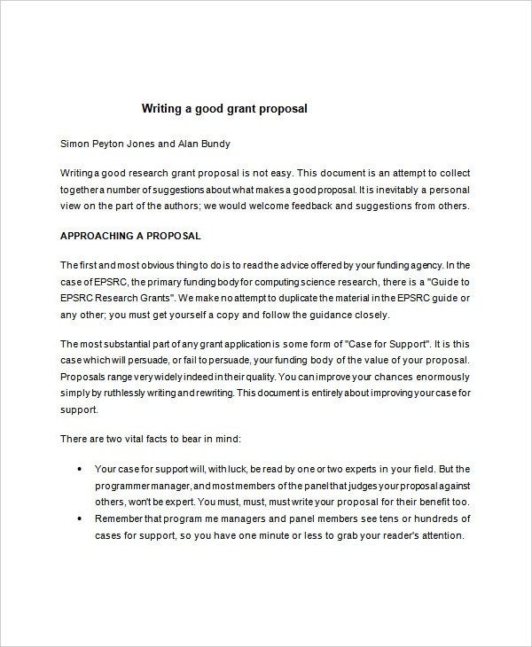Grant Writing Proposal Word Template