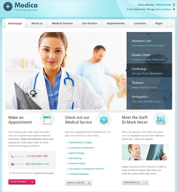 Health Clinics Medical WordPress Webiste Theme $55