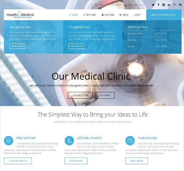 Medical WordPress Website Theme For Medicine $59