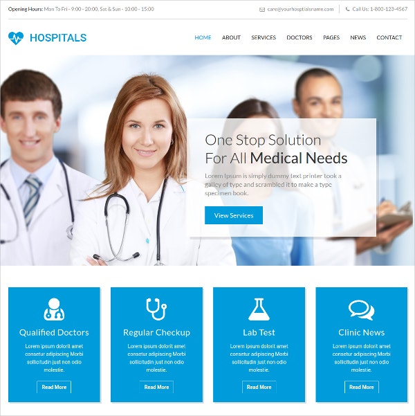responsive medical bootstrap website template 14