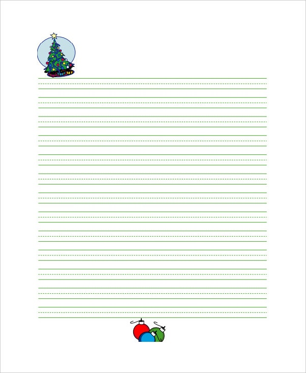 christmas lined writing paper template for kids