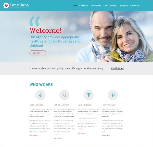 Home Health Care Agency & Medical Drupal Website Template $75