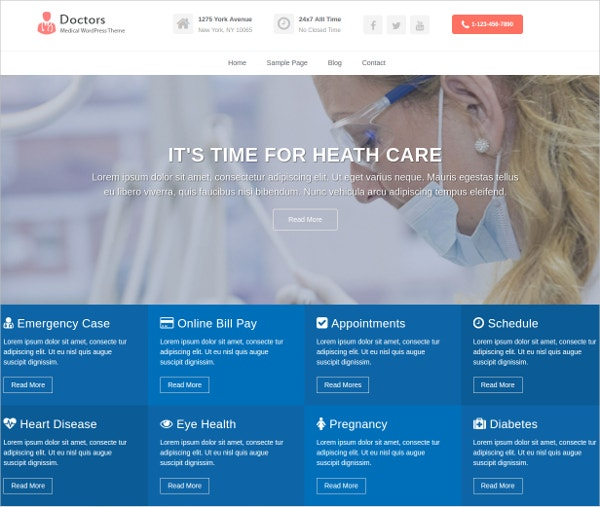 Free Medical & Doctors  WordPress Website Theme