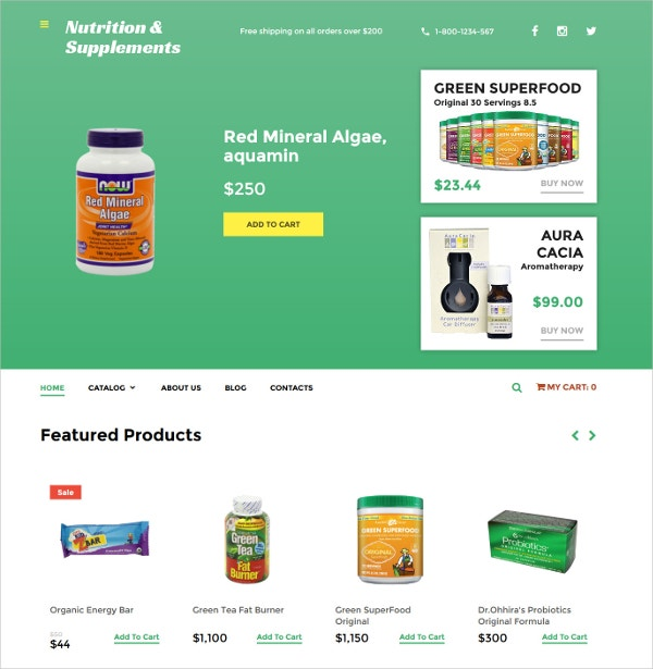 Nutrition Supplements Medical VirtueMart Website Template $139