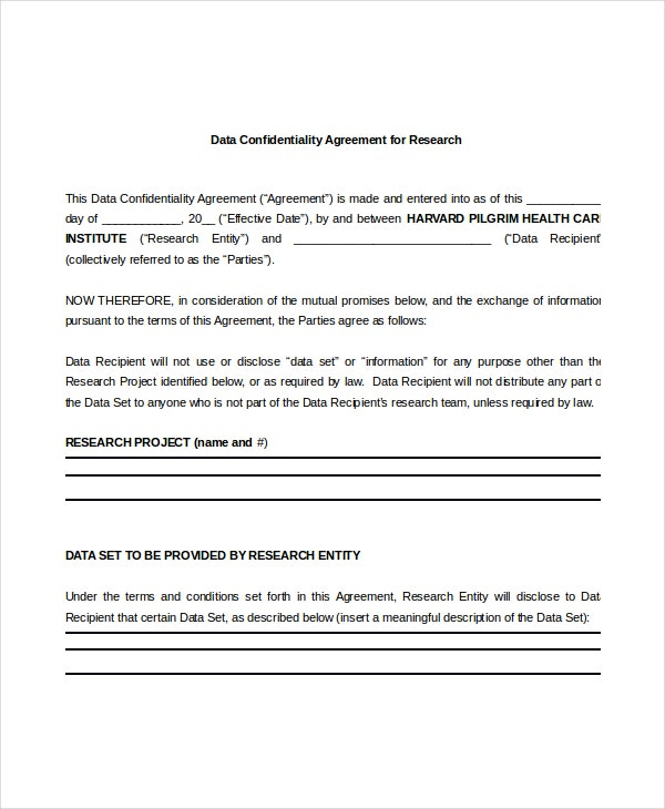 Data Confidentiality Agreement   Free Word Pdf Documents