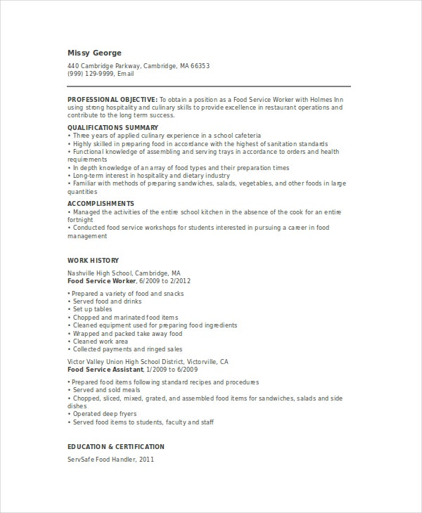 Food Service Worker Resume  Cafeteria Worker Resume