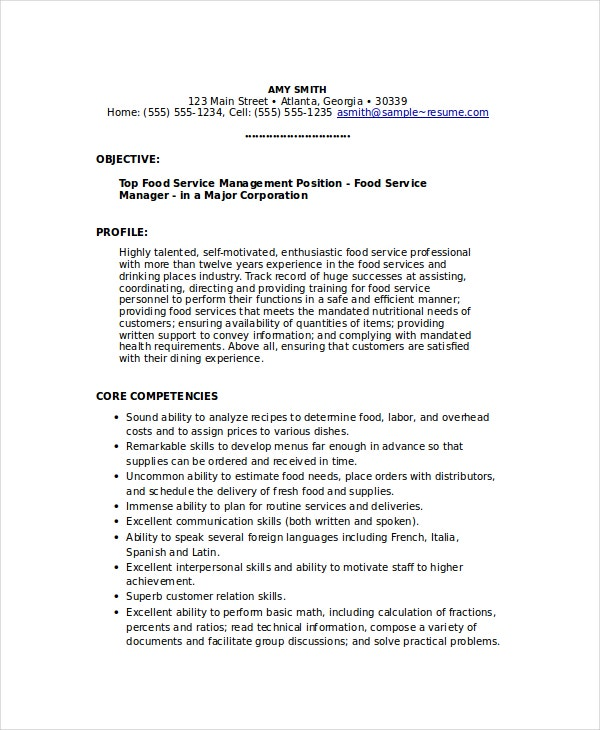 food service manager resume - Food Service Resume