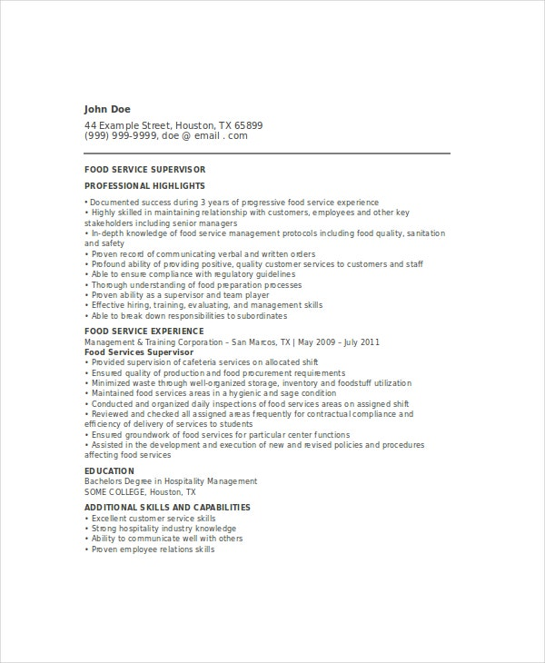 food service resume template 28 images resume sles