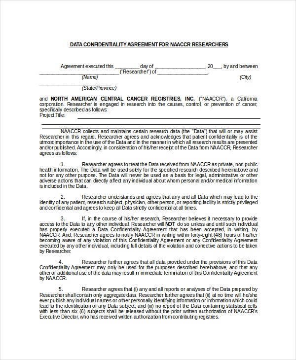 Data Confidentiality Agreement for Researcher