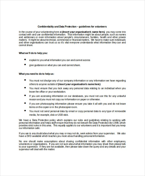 data protection confidentiality agreement