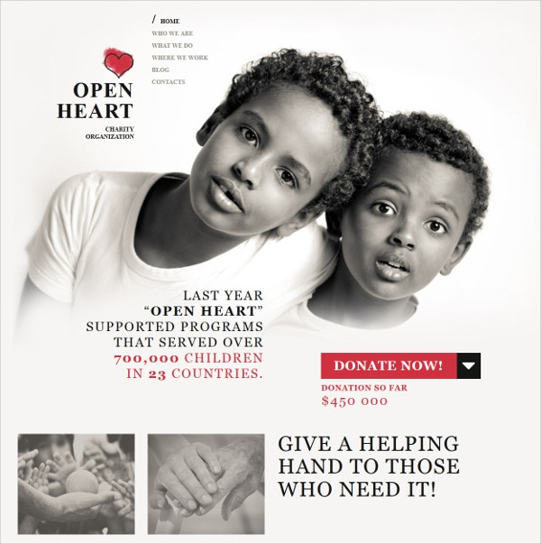 Non Profit Charity Responsive Moto CMS 3 Website Template $199