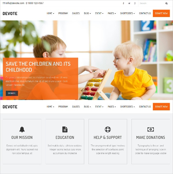 Non Profit Sponcer Chairty WordPress Website Theme $29