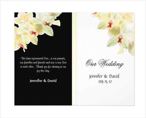 elegant orchids wedding program brochure