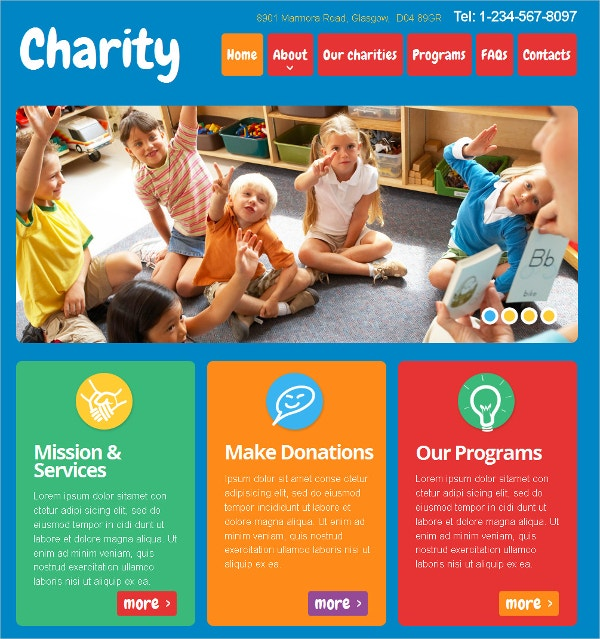 Charity Non Profit Moto CMS HTML Website Template $139
