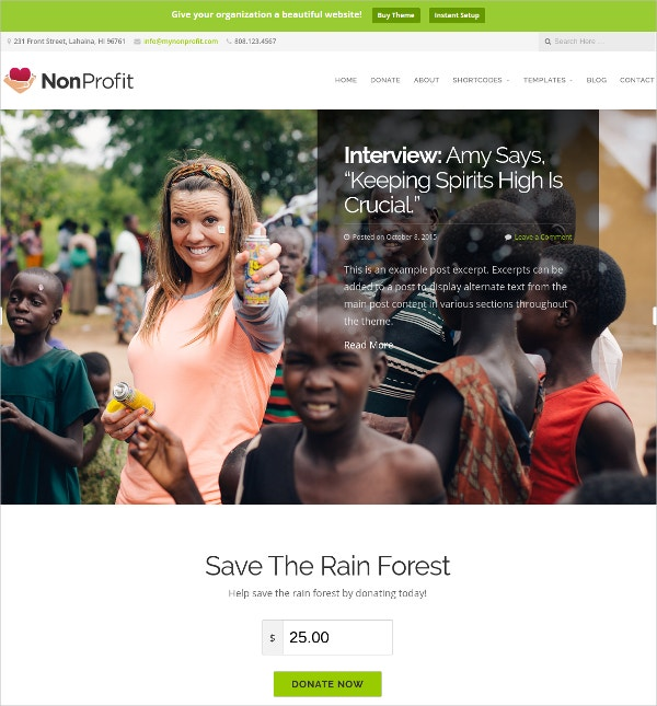 NonProfit Optimized WordPress Website Theme $69