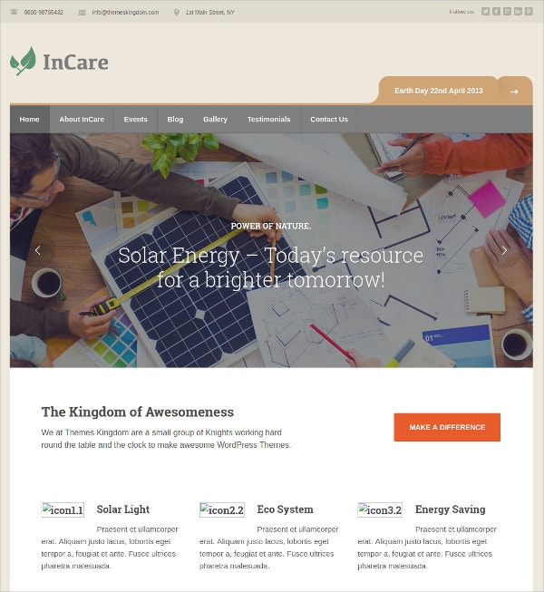 Environment & NonProfit WordPress Website Theme $49