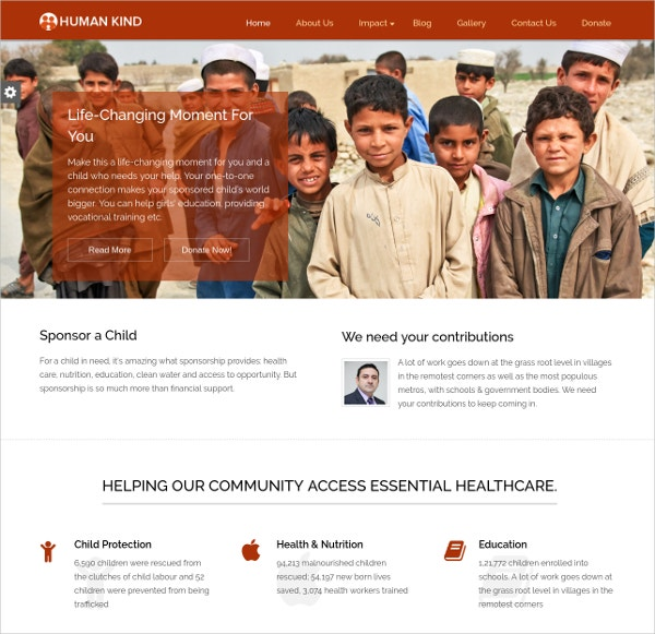 Professional Non Profit Organization Website Theme $79