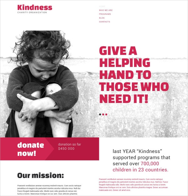 Non Profit Kindness Charity Drupal Website Template $75