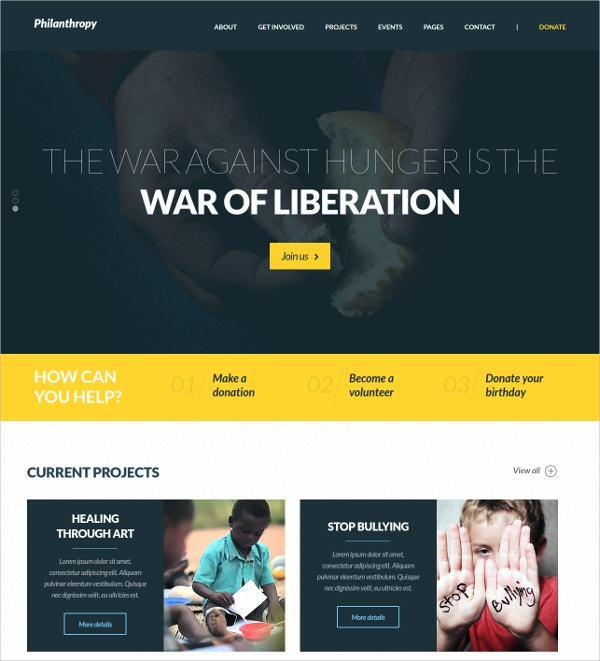 Non Profit Donation WordPress Website Theme $49