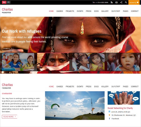 Non Profit Charitas Foundation WordPress Website Theme $99