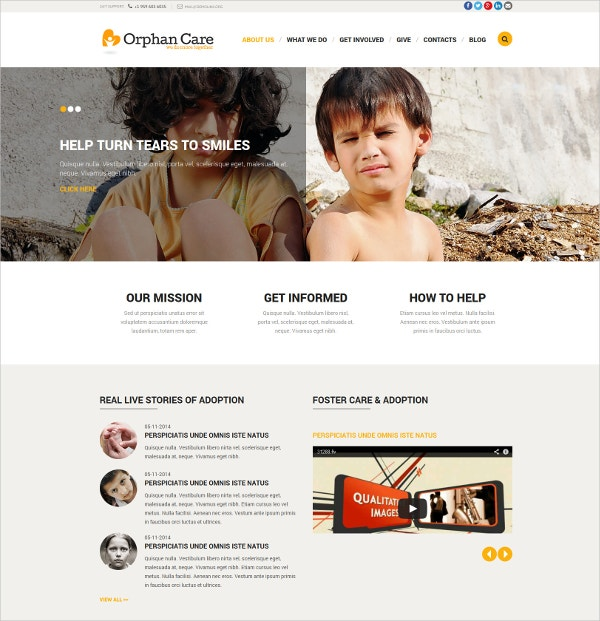 Orphanage Non Profit Donations Joomla Website Template $75