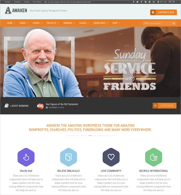 Charity, Nonprofit & Fundraising Website Theme $44