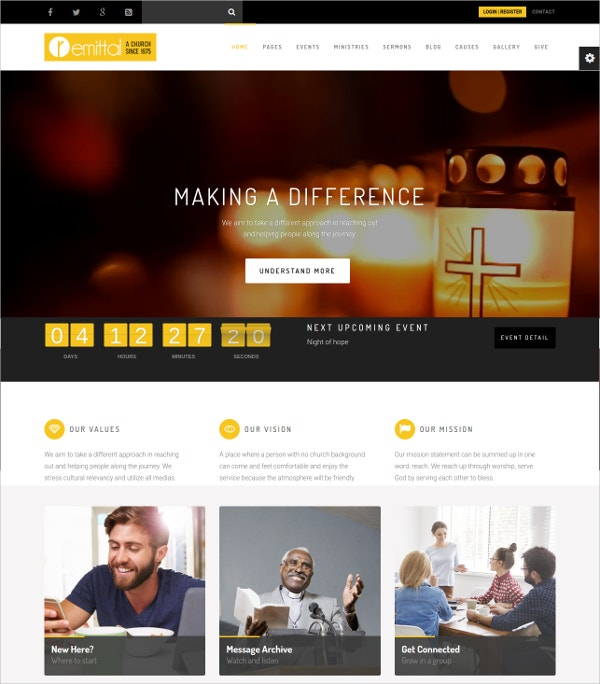 Church Non Profit Religious WordPress Website Theme