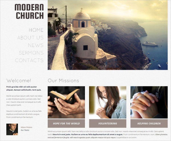 Non Profit Modern Church Religious WordPress Website Theme $75