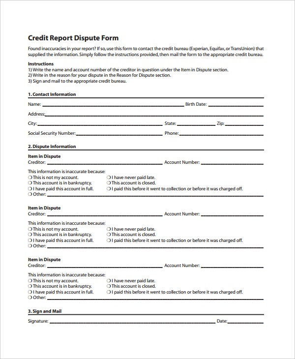 Credit Report Dispute Form Template