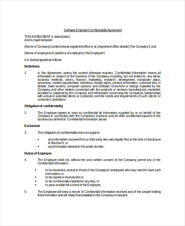 Software Company Employee Confidentiality Agreement