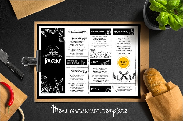 Bakery Food Menu flyer