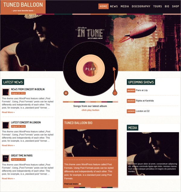 Music player & Band WordPress Website Theme $60