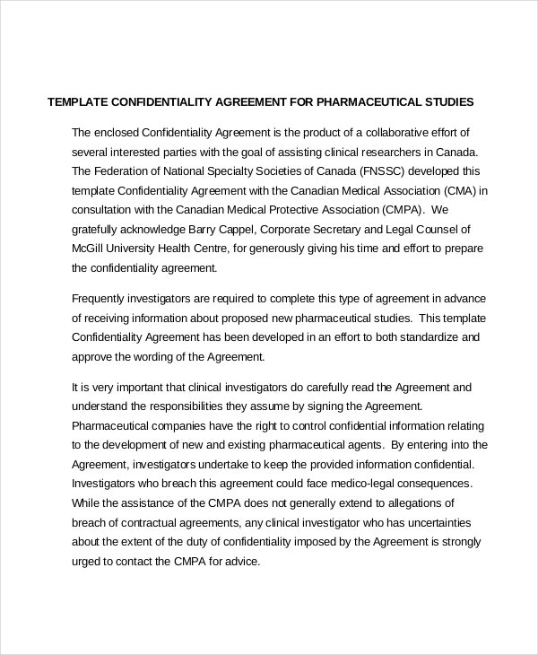 Pharmaceutical Company Employee Confidentiality Agreement
